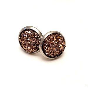 ⭐️2/$12 Rose Gold Round DRUZY STUD 10 mm EARRINGS